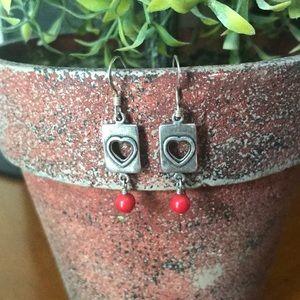 3/15 Bundle - Red Stone Dangle Earrings